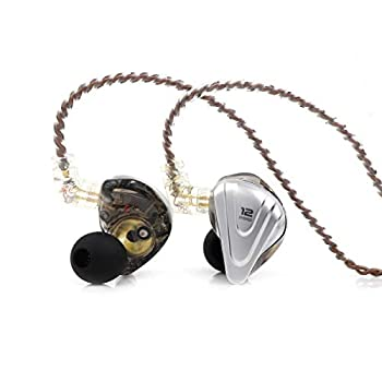 Linsoul KZ ZSX 5BA+1DD 6 Driver Hybrid in-Ear HiFi Earphones with Zinc Alloy Faceplate 0.75mm 2 Pin Detachable Cable for Audiophile Musician  Without mic Black