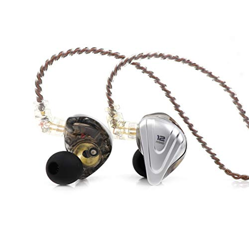 Linsoul KZ ZSX 5BA+1DD 6 Driver Hybrid in-Ear HiFi Earphones with Zinc Alloy Faceplate, 0.75mm 2 Pin Detachable Cable for Audiophile Musician (Without mic, Black)