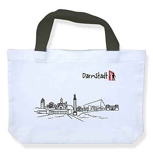Einkaufstasche Skyline Darmstadt - als Geschenk für Darmstädter & Fans der Stadt des Jugendstils oder als Darmstadt Souvenir - die stadtmeister