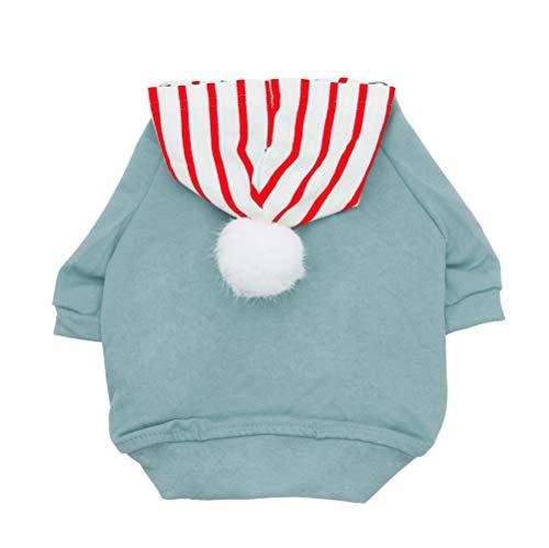 YAODHAOD huisdier hoodie, hond trui met pluisbal, zachte katoenen jas, geschikt voor kleine en middelgrote honden, XS-suitable for puppies and rabbits, Lichtgroen