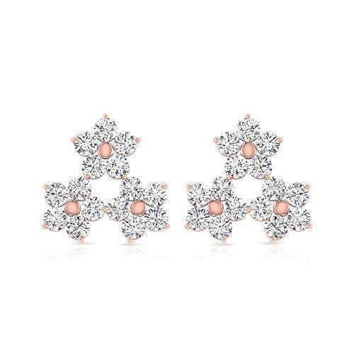 Pendientes de tuerca de oro rosa de 14 quilates con triple flor, certificado SGL, triángulo de diamante, pendientes de cristal con cierre de rosca