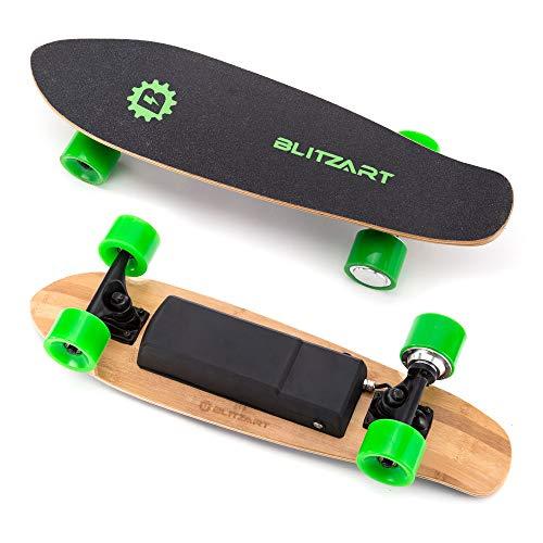 BLITZART Mini Flash 28' Electric Skateboard 12mph 8mile Range 250W Hub-Motor 2.8' Wheels (Green)