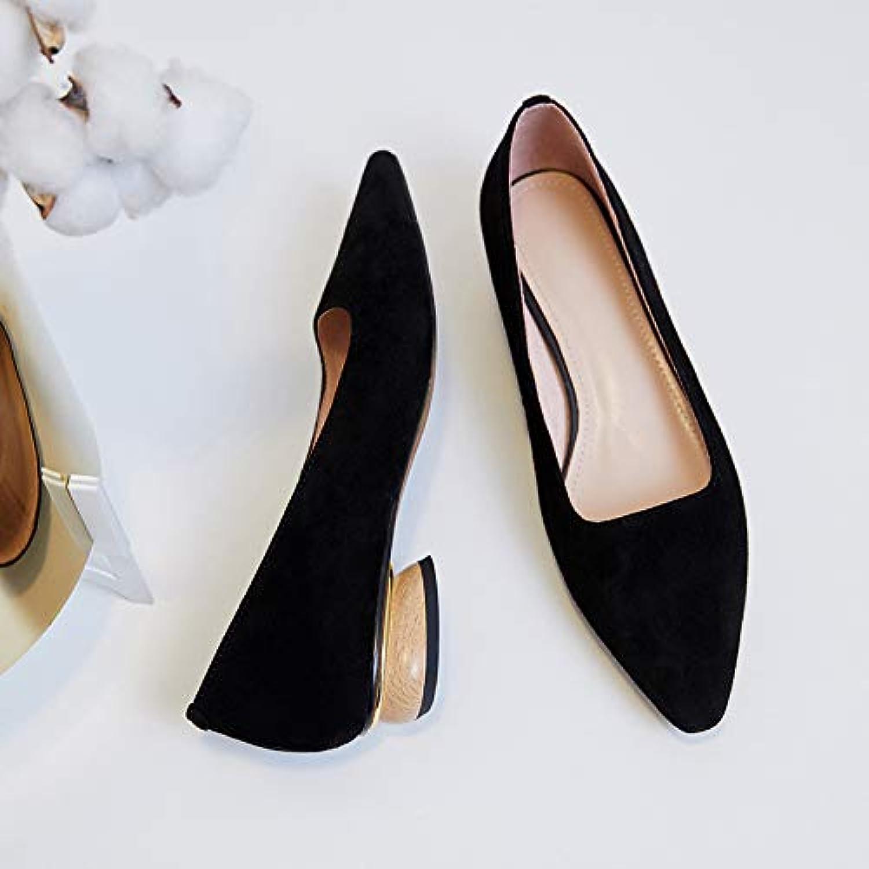 HOESCZS Frühlings-New-Mode-Mode Leder Einzelne Schuhe Spitze Flach Niedrig Mit Einfarbig Wilde Modelle Flacher Mund Niedrig, Um Frauen Schuhe Zu Helfen