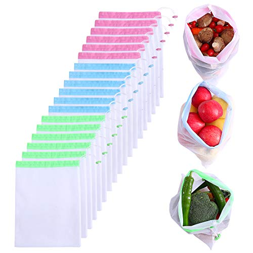 18 Pcs Premium Reusable Mesh Produce Bags Lightweight Washable See Through Zero Waste Shopping Mesh Bags with Drawstring Toggle Closure (1377quot1574quot)