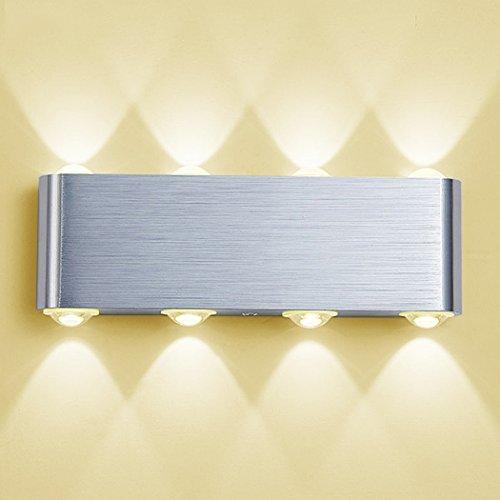PHOEWON Wandleuchte LED Innen, 8W Modern LED Licht Wandlampe Aluminium Leuchten Wandlicht Oben Unten Lampen Spotlicht, Wandleuchte für Schlafzimmer, Wohnzimmer, Korridor (Warmweiß)
