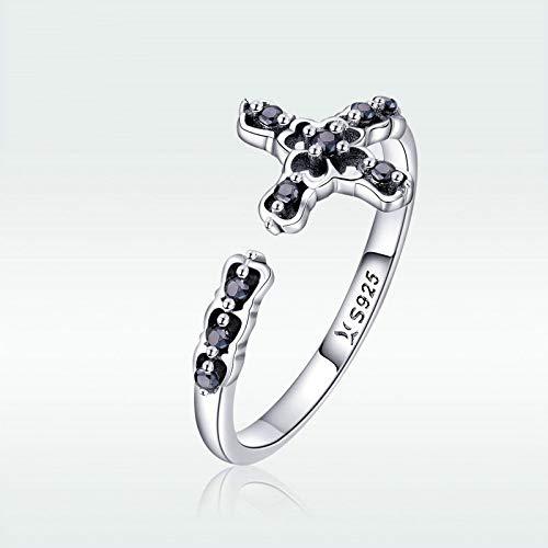 JIARU Anillo de plata de ley 925 para mujer, anillo ajustable, anillo simple y cruz incrustada negro de alto color para niña anillo de dedo abierto regalo