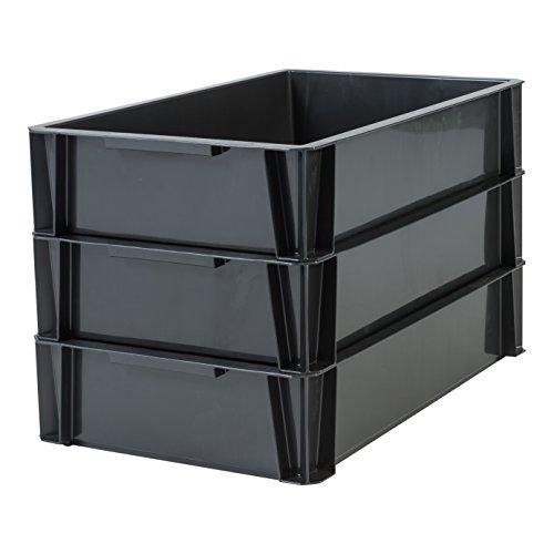 Iris Ohyama, Set de 3 bacs de rangement- Stacking Box - STB-L, plastique, noir, 18 L, 55 x 35 x 12 cm