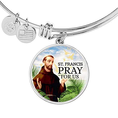 Express Your Love Gifts Catholic St. Francis Circle Bangle - Pulsera de acero inoxidable y oro de 18 quilates