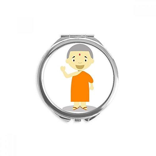 DIYthinker Orange Kleid Monk Nepal Karikatur-Spiegel Runde bewegliche Handtasche Make-up 2.6 Zoll x 2.4 Zoll x 0.3 Zoll Mehrfarbig