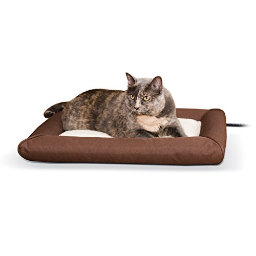 K&H Pet Products Deluxe Lectro-Soft Outdoor Heated Bed Small Chocolate/Tan 19.5' x 23' 20W