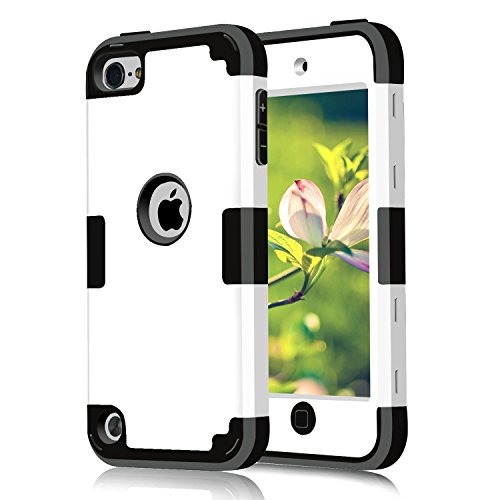 Case for iPod Touch 2019 5 6 , CheerShare 3 in 1 Hard PC Case + Silicone Shockproof Heavy Duty High Impact Armor Case Cover Protective Case for Apple iPod Touch 7th 6th 5th Generation (White+Black)