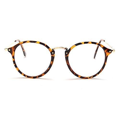 Gafas de moda Gafas de sol para mujer Gafas de sol retro unisex con montura de gafas de sol de plástico simple masculina y femenina Gafas clásicas de señora Occhiali (Color : Animal print)