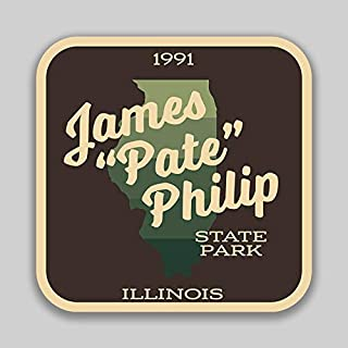 JMM Industries James Pate Philip State Park IllinoisVinyl Decal Sticker Car Window Bumper 2-Pack 4-Inches by 4-Inches Premium Quality UV Protective Laminate SPS00995