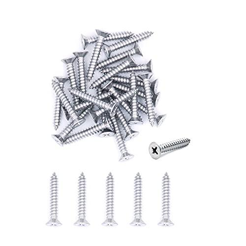 Tornillos autorroscantes de acero inoxidable Nuzamas, 7 G x 40 304, 500 unidades, tornillos de cabeza avellanada en miniatura, tornillos autorroscantes y tornillos para madera (ST3.9 x 40)