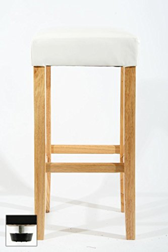 Edler Holzbarhocker Barhocker Holz weiß Holzgestell Natur verstellbare Bodengleiter