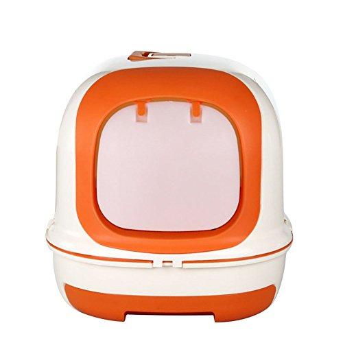 Pet Online Gatto toilette pieno chiuso grande lusso cassetto Cat lettiera, arancio