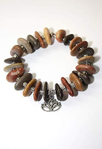Pulsera con piedras del Mediterráneo y símbolo de la flor de loto/Brazalete celta/Pulsera...