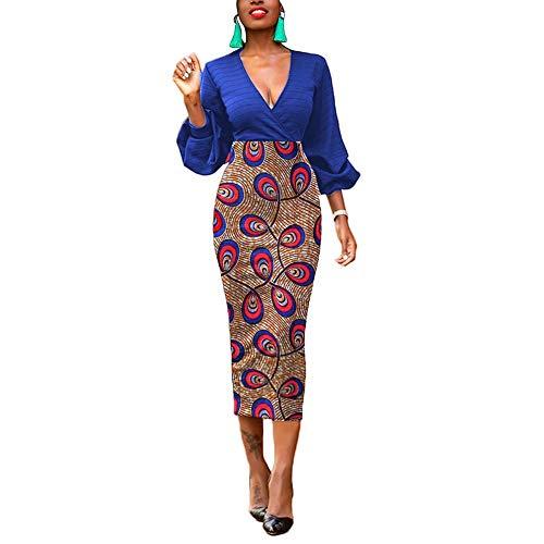 Lover-Beauty Laden Vestito Estivo Casual da Donna Abiti da Camicia Manica Corta Vestito Altalena con Tasche Blu reale1 S