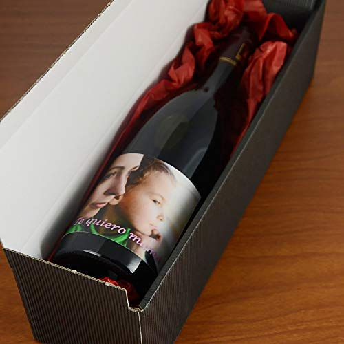 Calledelregalo Regalo para Madres o Padres Personalizable: Botella de Vino Personalizada con la Foto y el Texto Que Quieras