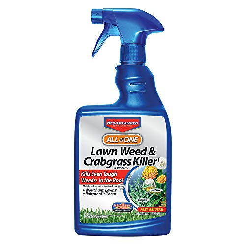 BioAdvanced 704125A All-in-One Lawn Weed & Crabgrass Killer Rainproof Herbicide, 24 oz, 24-Ounce