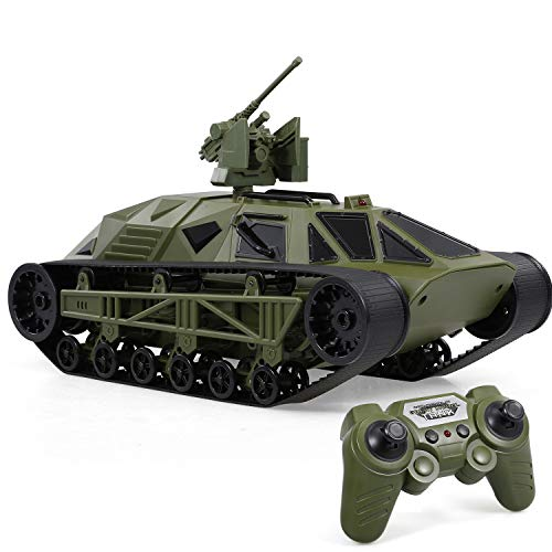 GoolRC FC166 RC Tank, 4WD 2.4Ghz 1/12 Remote Control Battle Tank Toy for Kids, All Terrain Tank Vehicle with 360° Rolling Flip Army Green