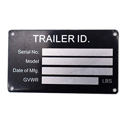 Blank Trailer VIN ID Plate Data TAG Serial Model Number Identification New