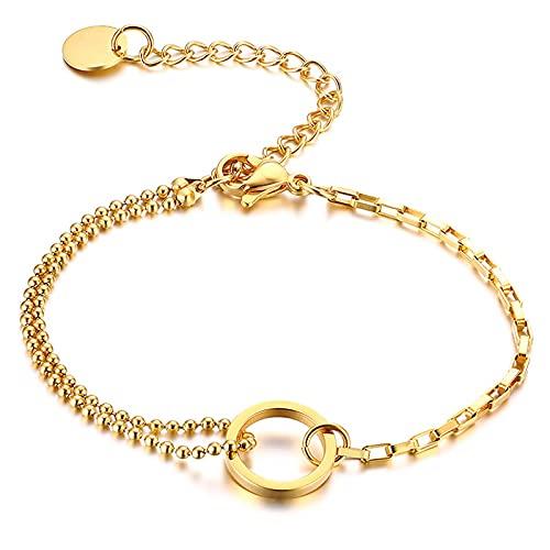 ShZyywrl Pulsera Charm Rectangle Beads Chain Bracelet Acero Inoxidable Doube Link Layering Ajustable
