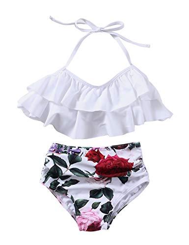 XUNYU Girls Swimsuit Falbala High Waisted Bathing Suit Halter Neck Bikini Swimwear Tankini White 7-8 Years