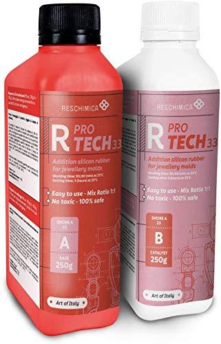 Caucho de silicona aditivo R PRO TECH 33 (1 kg) para la realización de moldes profesionales con alta dureza (33 shoreA), no tóxico, (proporción de mezcla 1:1)