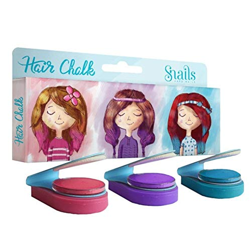Snails Temporary Hair Chalk (Set of 3 Colors - Blue, Pink, Purple) - Washable Hair Colors for Little Girls - Safe for Kids, Non-Toxic, Vegan & Cruelty-Free - For Party, Birthday, Christmas Gifts