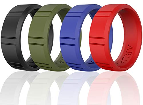 Silicone Wedding Ring for Men - 4 Pack. Silicone Rubber Wedding Bands - Black, Green, Blue, Red