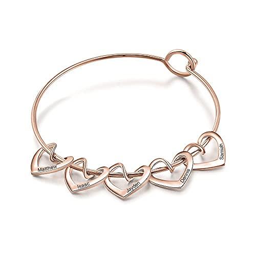 Youdert Pulsera Personalizada Personalizada Grabado Nombre Heart Charms Pulseras para Mujeres Brazalete Personalizado de Acero Inoxidable Bricolaje Grabado (Color : 5 Hearts Rose Gold)