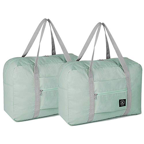 2 Pack Foldable Travel Duffel Bag, Lightweight Carry On Luggage Bag for Women and Men, Waterproof Multipurpose Sport Duffle for Sports, Gym, Vacation (light blue)