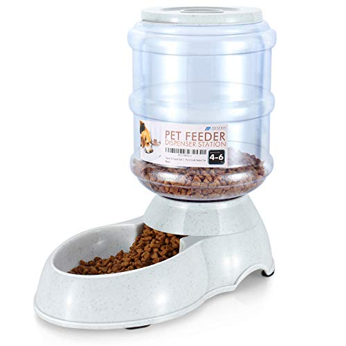 Flexzion Food Dispenser Station, Self Replenish Pet Feeder Automatic Gravity Fed Dry Food Storage Container Bowl with Antimicrobial Microban Plastic, Skidproof Rubber Feet for Dog Cat Animal (4-6 lb)