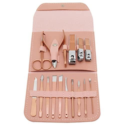 WENMENG2021 Cortaúñas Kit de Cuidado de uñas Manicure Handoming Set Nail Clipper Set Manicure Tijeras Conjunto con Bolsa de Viaje Cutícula y Cuidado de uñas Cortadores de uñas (Color : 16pcs)