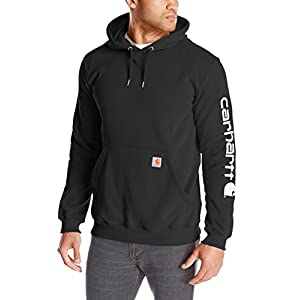 Carhartt Men's Midweight Sleeve Logo Hooded Sweatshirt (Regular and Big & Tall Sizes), Black, Large