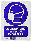 Normaluz RD25626 - Señal Adhesiva Es Obligatorio El Uso de Mascarilla Adhesivo de Vinilo 15x20 cm