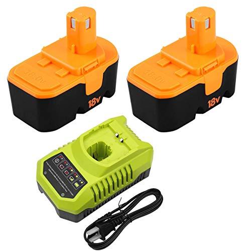 2Packs 3600mAh P100Ni-Mh Replacement for Ryobi 18V Battery ONE+ and P117 Charger for Ryobi 9.6V-18V Lithium Ni-Cd&Ni-Mh Battery P100 P101 P102 P103 P105 P107 P108 P200 1400670