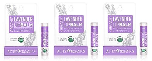 Alteya USDA Organic Lip Balm with Bulgarian Lavender - 0.52oz/15g, 3 x 0.17oz/5g each