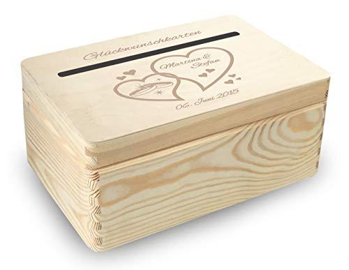 MidaCreativ kleine Holz-Geschenkbox Hochzeit Briefbox (BB4) Geldgeschenke incl Lasergravur - optional auch abschließbar