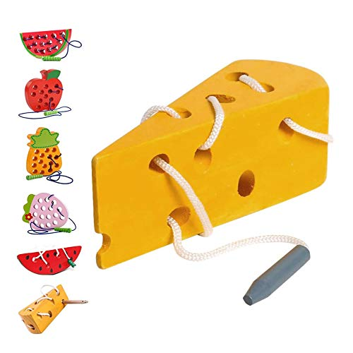 Sunshine smile Juguetes Montessori,Rosca Juguete de Madera, Cordón de Madera Enhebrar Juguete,Niños Niños Aprendizaje Temprano Educativo Bloque de Madera Rompecabezas de Juguete (Queso)