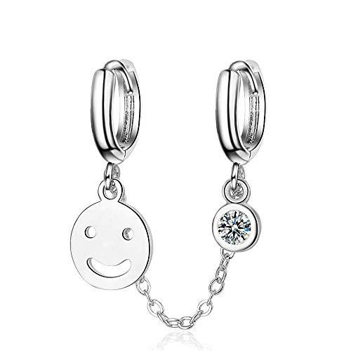 ZHENAO Pendientes Cuelgantes Smiley Flashing Double Pierced Ear Hebilla Pendientes de Moda Mujeres Pendientes de Moda Pendientes Orejos para Fiestas Y Viajes Retro/A