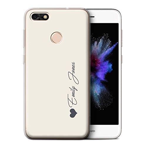 Stuff4® Personalisiert Persönlich Pastell Töne Gel/TPU Hülle für Huawei P9 Lite Mini/Elfenbein Herz Design/Initiale/Name/Text Schutzhülle/Hülle/Etui