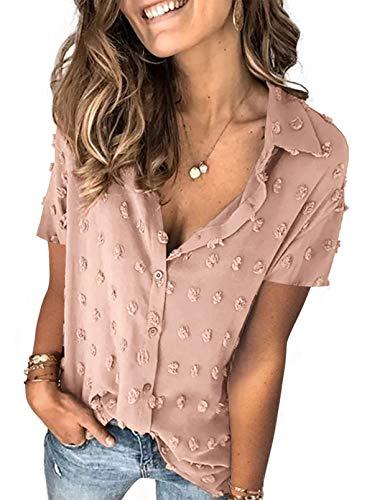 Dokotoo Womens Stylish V Neck Flowy Short Sleeve Pom Pom Casual T Shirts Chiffon Blouses Tops Fashion 2021 Summer Blouses Khaki 1X Large