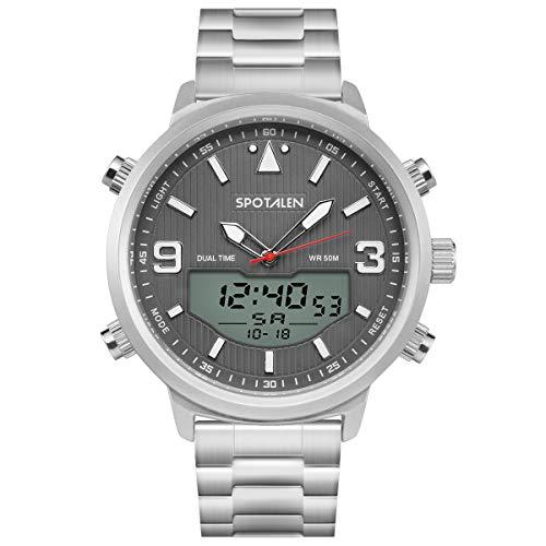 Herren 50M wasserdichte Uhr einfach zu lesen mit Hintergrundbeleuchtung Stoppuhr und Alarmfunktion, digitale und analoge Dual-Zeit-Display, einfach zu passen Kleidung und einfach zu bedienen Stahlband