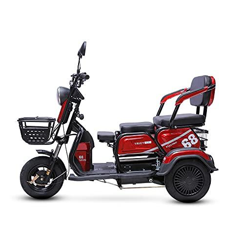 JHKGY Scooter Eléctrico De Tres Ruedas,Scooters Eléctricos De Movilidad De Servicio Pesado para Adultos -Scooter De Ocio para Ancianos,Ajuste De 3 Velocidades,Capacidad De Carga 300Kg,Rojo