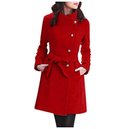 YinGTral Damen Winter Revers Wolle Mantel Trench Jacke Langarm Mantel Outwear