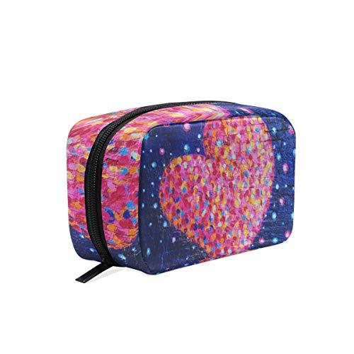 Trousse de maquillage avec fermeture à glissière pour le sac d'embrayage arc-en-ciel coeur mur sac de rangement de voyage sac carré pour femmes