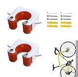EWENYS Mini soporte de pared para bicicleta, hebilla de aparcamiento para bicicleta, almacenamiento para bicicletas, fácil de instalar para soportes de pared de bicicleta, 2 piezas (MTB, naranja)