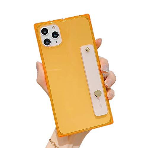 HHZY Funda Cuadrado Compatible con iPhone 12 Pro MAX Pulsera Cárcasa Soporte Silicona Transparente con Reforzadas Cojín Suave TPU Antigolpes de Protector Case Cover,Naranja,12 Pro